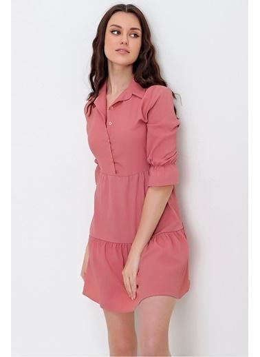 Pink Park Gömlek Yaka Düğme Detaylı Valonlu Krinkıl Elbise RD00014 Pudra
